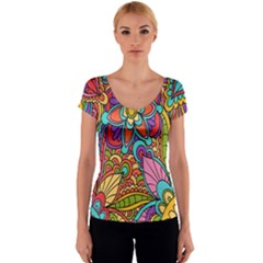 Festive Colorful Ornamental Background Women s V-Neck Cap Sleeve Top