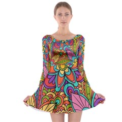 Festive Colorful Ornamental Background Long Sleeve Skater Dress