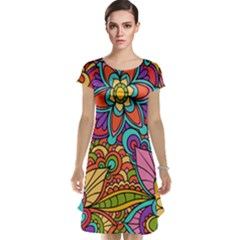 Festive Colorful Ornamental Background Cap Sleeve Nightdress