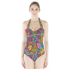 Festive Colorful Ornamental Background Women s Halter One Piece Swimsuit