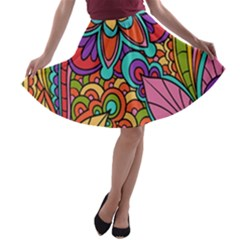 Festive Colorful Ornamental Background A Line Skater Skirt