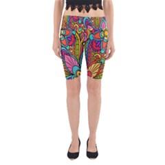 Festive Colorful Ornamental Background Yoga Cropped Leggings