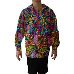 Festive Colorful Ornamental Background Hooded Wind Breaker (Kids)