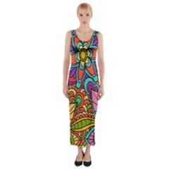 Festive Colorful Ornamental Background Fitted Maxi Dress