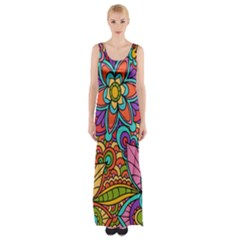 Festive Colorful Ornamental Background Maxi Thigh Split Dress