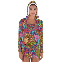 Festive Colorful Ornamental Background Women s Long Sleeve Hooded T-shirt