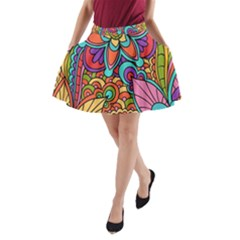 Festive Colorful Ornamental Background A-Line Pocket Skirt