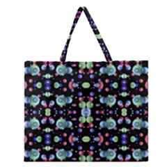 Multicolored Galaxy Pattern Zipper Large Tote Bag
