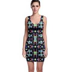 Multicolored Galaxy Pattern Print Sleeveless Bodycon Dress