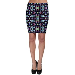 Multicolored Galaxy Pattern Print Bodycon Skirts