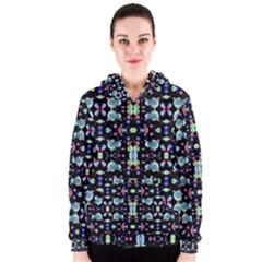 Multicolored Galaxy Pattern Print Women s Zipper Hoodie