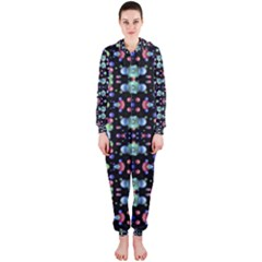 Multicolored Galaxy Pattern Print Hooded Jumpsuit (Ladies)