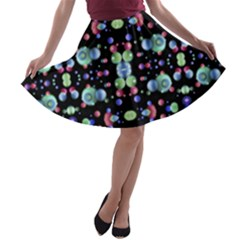 Multicolored Galaxy Pattern Print A Line Skater Skirt