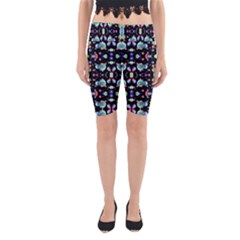 Multicolored Galaxy Pattern Print Yoga Cropped Leggings