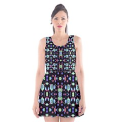 Multicolored Galaxy Pattern Print Scoop Neck Skater Dress