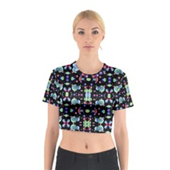 Multicolored Galaxy Pattern Print Cotton Crop Top