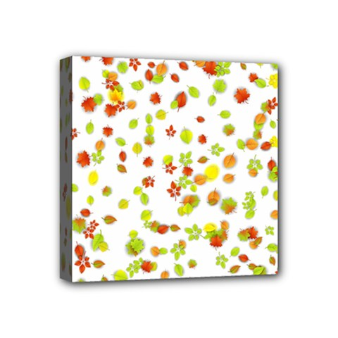 Colorful Fall Leaves Background Mini Canvas 4  x 4