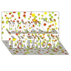 Colorful Fall Leaves Background Happy Birthday 3d Greeting Card (8x4)