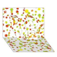 Colorful Fall Leaves Background LOVE 3D Greeting Card (7x5)
