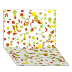 Colorful Fall Leaves Background Clover 3d Greeting Card (7x5)