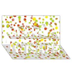 Colorful Fall Leaves Background Best Wish 3D Greeting Card (8x4)
