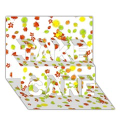 Colorful Fall Leaves Background TAKE CARE 3D Greeting Card (7x5)