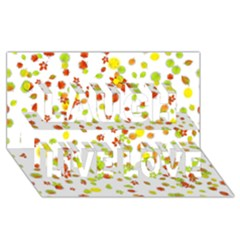 Colorful Fall Leaves Background Laugh Live Love 3D Greeting Card (8x4)