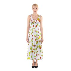 Colorful Fall Leaves Background Sleeveless Maxi Dress