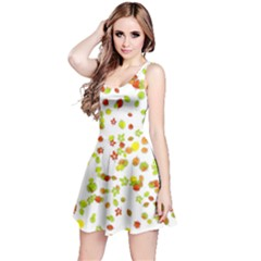 Colorful Fall Leaves Background Reversible Sleeveless Dress
