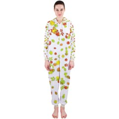 Colorful Fall Leaves Background Hooded Jumpsuit (Ladies)