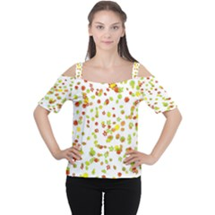 Colorful Fall Leaves Background Women s Cutout Shoulder Tee