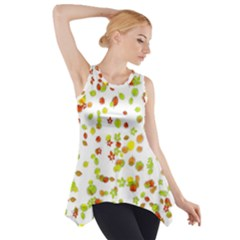 Colorful Fall Leaves Background Side Drop Tank Tunic
