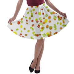 Colorful Fall Leaves Background A-line Skater Skirt