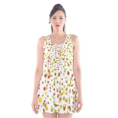 Colorful Fall Leaves Background Scoop Neck Skater Dress
