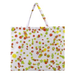 Colorful Fall Leaves Background Zipper Large Tote Bag