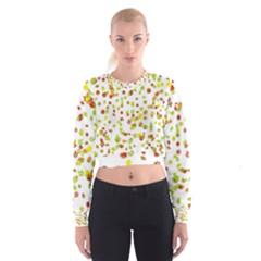 Colorful Fall Leaves Background Women s Cropped Sweatshirt