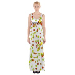 Colorful Fall Leaves Background Maxi Thigh Split Dress