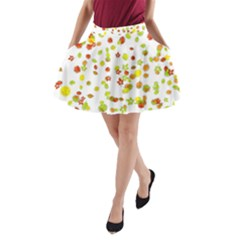 Colorful Fall Leaves Background A-Line Pocket Skirt