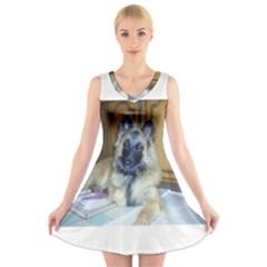Puppy Belgian Tervueren V-Neck Sleeveless Skater Dress