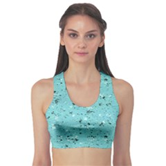 Abstract Cracked Texture Print Sports Bra
