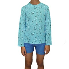 Abstract Cracked Texture Print Kid s Long Sleeve Swimwear