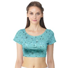 Abstract Cracked Texture Print Short Sleeve Crop Top (Tight Fit)