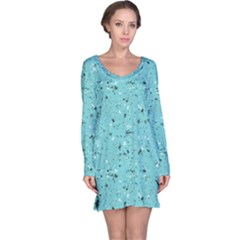Abstract Cracked Texture Print Long Sleeve Nightdress