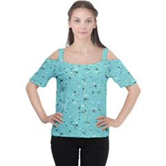 Abstract Cracked Texture Print Women s Cutout Shoulder Tee