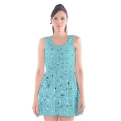 Abstract Cracked Texture Print Scoop Neck Skater Dress