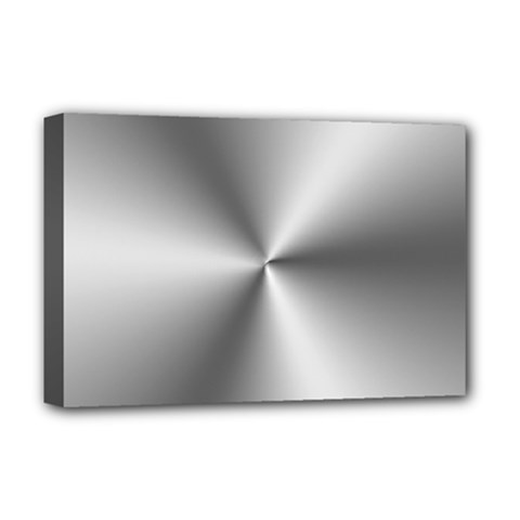 Shiny Metallic Silver Deluxe Canvas 18  x 12
