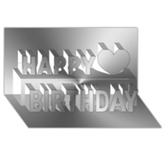 Shiny Metallic Silver Happy Birthday 3D Greeting Card (8x4)