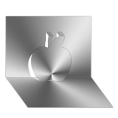 Shiny Metallic Silver Apple 3D Greeting Card (7x5)