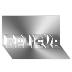 Shiny Metallic Silver BELIEVE 3D Greeting Card (8x4)