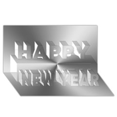 Shiny Metallic Silver Happy New Year 3D Greeting Card (8x4)